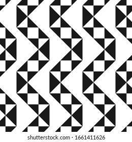 Vector creative seamless geometric pattern. Textile striped black and white texture. Abstract monochrome fabric background