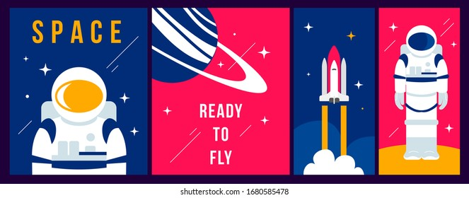 Vector creative set of illustration with cosmonaut in spacesuit, planet and spaceship on color background. Flat line art style concept design of astronaut for holiday cosmonautics day greeting card