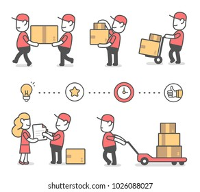 Vector creative set of illustration of delivery happy man in red uniform with boxes in different poses and icon. Fast delivery service. Flat line art style design for web, banner
