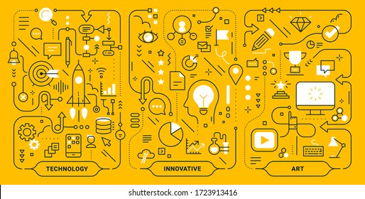 Vector creative set of innovate technology business process template. Business concept illustration on yellow background. Flat line art style design for web, banner, print, presentation