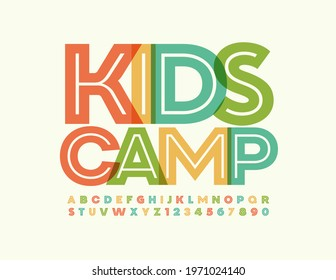 Vector creative sign Kids Camp. Bright artistic Font. Trendy set of Alphabet Letters and Numbers