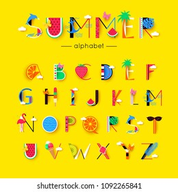 vector creative summer font and alphabet