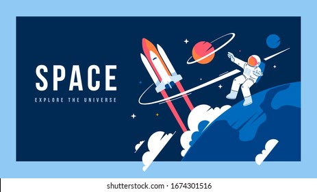 Vector creative template with illustration of cosmonaut in spacesuit exploring outer space and spaceship. Astronaut making spacewalk on dark background near earth. Flat line art style design of cosmos