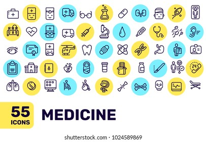 Vector creative thin line medical icon big set with bright color spot on white background with title. Line art flat style design of liner icon for medical web, site, banner, medicine presentation