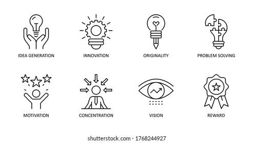 Vector creativity icons. Editable Stroke. Idea generation, concentration, problem solving, motivation, reward, vision, originality, innovation.
