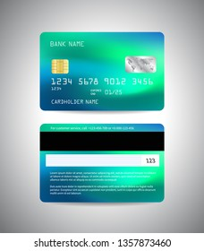 Vector Credit card. Front and back side of credit card template. Money, payment, financial symbol. Neon blue and green colors. Vector banking illustration design EPS10