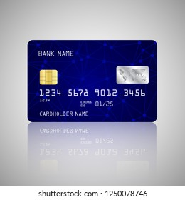 Vector credit card with net and dots on blue background. Vector illustration design EPS10