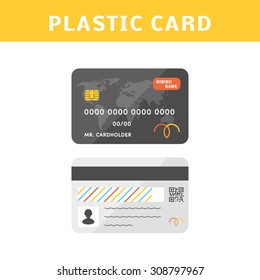 Vector credit cards. Flat simple illustration. Front side of a personalized credit card and backside.