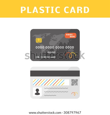 vector credit cards flat simple illustration front side of a personalized credit card and - Personalized Credit Cards
