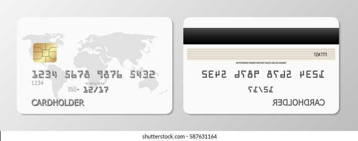 Vector credit cards, front and back view. A generic credit card with a smart chip and a hologram. Front and back. Blank credit card vector template.