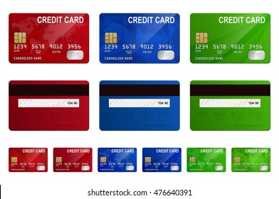 Vector credit cards set, isolated.