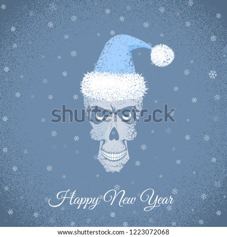 vector creepy greeting card with grey skull in blue santa hat on the grunge background with