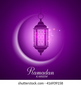 Vector Crescent Moon and Lantern Lightning in Dark Background with Ramadan Kareem Greetings. Silhouette Vector Illustration