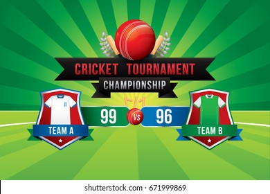 Vector of cricket championship badge design with team players and scoreboard.