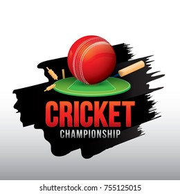 Vector of cricket championship badge design with wood cricket bats and ball.