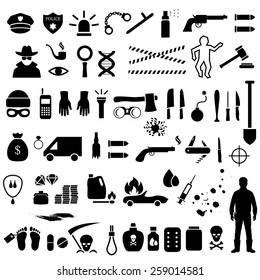 vector crime icons, police, law criminal illustration