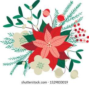 Vector cristmas floral pattern with poinsettia viscum christmas star and fir branches. Design for greeting cards, digital projects,scrapbooking, invitation, textile, packaging and festive projects