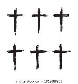 Vector cross hand drawn symbol. Grunge christian cross brush stroke texture.