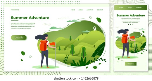 Vector cross platform illustration set -  tourist girl looking on mountain to climb. Forests, trees and hills on green background.Browser and mobile phone template with place for your text.