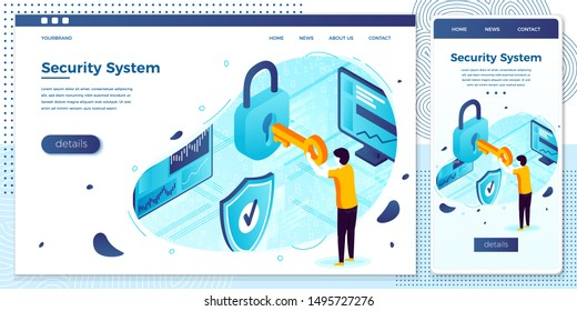Vector cross platform illustration set, browser and mobile phone - man with key and lock, Data Protection. Modern bright banner, site template with place for your text