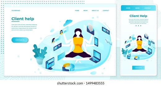 Vector cross platform illustration set, browser and mobile phone - multitasking manager girl with six hands.  Modern bright banner, site template with place for your text
