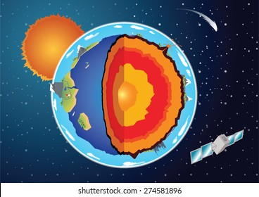 Vector Cross section of earth surrounded with space