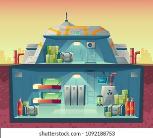 Vector cross section of nuclear shelter, interior of fortified bunker. Cartoon isolated lab, headquarters for survival or experiments, technology research. Architecture background