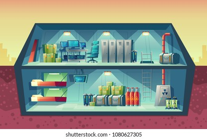 Vector cross section of secret bunker, interior of scientific laboratory for creation. Cartoon isolated lab, headquarters for experiments or technology research. Architecture background