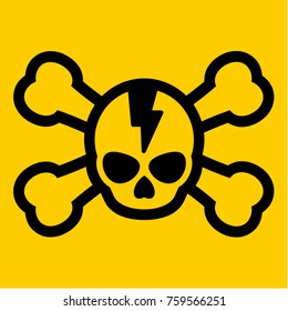 A vector crossbone icon with broken skull on bright yellow background