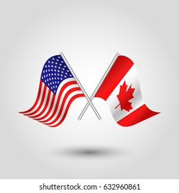 vector crossed american and canadian  flags on silver sticks - symbol of united states of america and canada
