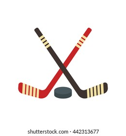 Vector crossed hockey sticks and puck icon