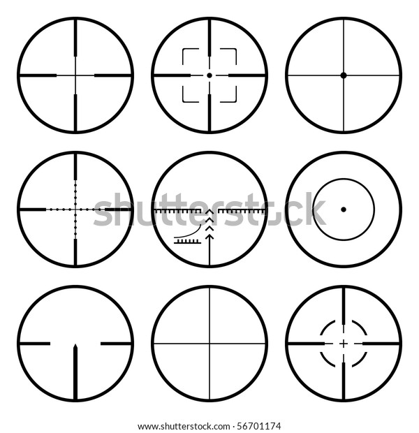 Vector crosshairs set. Each crosshair in separated layers.