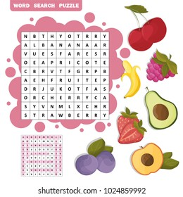 Vector crossword, education game for children about fruits. Word search puzzle