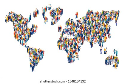 Vector of crowd of multicultural people composing a world map on white background