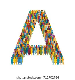 Vector crowd of people in form of capital letter A flat style