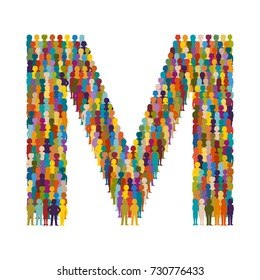 Vector crowd of people in form of capital letter M flat style
