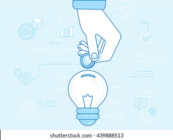 Vector crowdfunding concept in flat style - new business model - funding project by raising monetary contributions from people - hand putting coin inside the light bulb