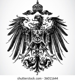 Vector Crown and Eagle Ornament