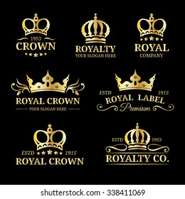 Vector crown logos set. Luxury corona monograms design. Diadem icons illustrations. Used for hotel, restaurant, boutique, jewellery invitation, business card etc.