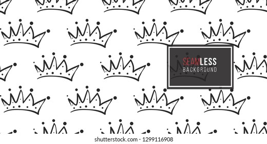 Vector crown seamless pattern background. Black outline hand drawn crown illustrations. Simple fashionable backdrop for invitation and wedding decoration design.