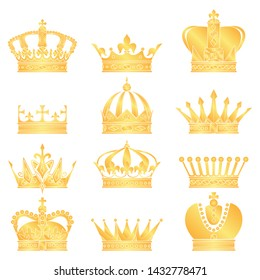 vector crown silhouette. a symbol of power. big set