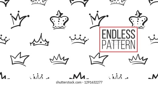 Vector crowns in different styles in seamless pattern background. Black outline hand drawn crown illustrations. Simple fashionable backdrop for invitation and wedding decoration design.
