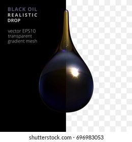 Vector crude oil drop. Realistic 3d droplet of a natural black gold. Petroleum drip tinted by bluish black, deep purple, yellowish shades. Black and checkered background shows a slight transparency.