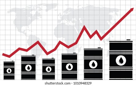 vector crude oil price financial chart with world map and grid on background. red arrow shows oil prices up and down trade trend. energy market flat background