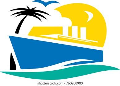 Vector cruise ship illustration