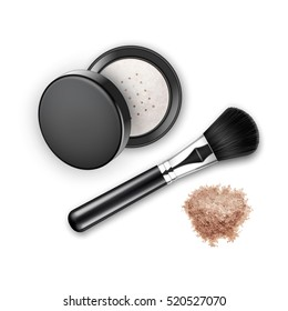 Vector Crumbled Face Cosmetic Make up Powder Blusher in Black Round Plastic Case with Makeup Brush Applicator Top View Isolated on White Background