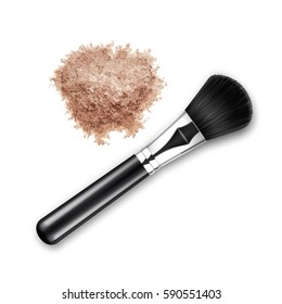 Vector Crumbled Face Cosmetic Make up Powder Blusher with Makeup Brush Applicator Top View Isolated on White Background