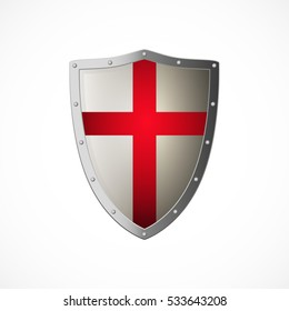 Vector crusaders shield, isolated on white