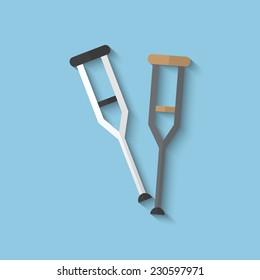 Vector crutch flat icon.Eps10.