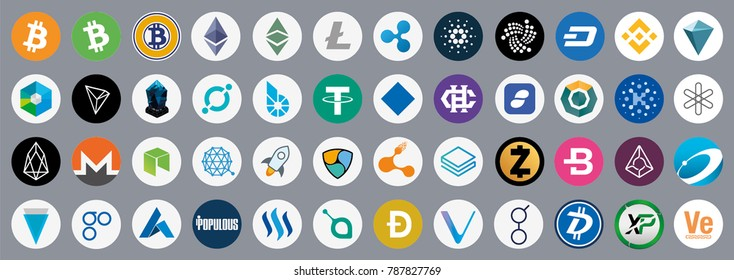 Vector cryptocurrency icons isolated on grey background